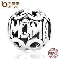 Bamoer European 925 Sterling Silver Charm MoM Hollow Bead Fit Bracelet Jewelry