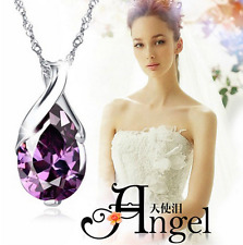 Women's Silver Purple Gemstone Amethyst Pendant Crystal Wedding Jewelry Beauty
