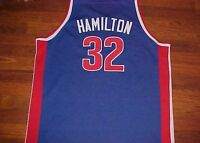 Richard Hamilton 32 Detroit Pistons NBA Mitchell Ness Blue Red Classics Jersey