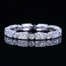 STERLING SILVER 925 PLATE WHITE GOLD WITH DIAMONDS ENGAGEMENT WEDDING BAND RING