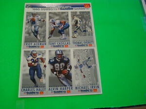 1993 COWBOYS GAMEDAY MCDONALD'S LIMITED EDITION CARDS SHEET A