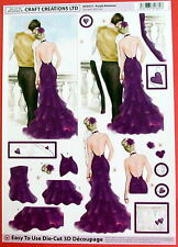"A4 DIE CUT 3D PAPER TOLE DECOUPAGE ""PURPLE ROMANCE"" SHEET NO CUTTING EASY DCD577"