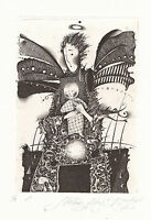 """""""Mother's Angel"""" Free Print / Graphics, Etching (ex libris) by Roman Sustov"""