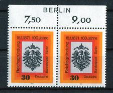 Berlin 385 postfrisch mit Zudruck waagerechtes Paar Oberrand Reichsgründung MNH