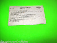 VECTOR By BALLY 1981 ORIGINAL PINBALL MACHINE INSTRUCTION  INFORMATION CARD