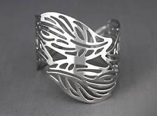 Silver tone leaf leaves filigree cutout pattern metal bangle cuff wide bracelet