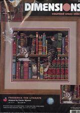 Frederick the Literate Cat Book Shelf Dimensions Cross Stitch Kit NEW