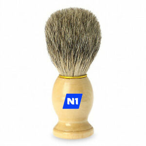 N1 Shaving Brush Perfect Shave Barber Hard Wooden Handle Badger Hair Soft Feel