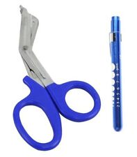 "BLUE Trauma Paramedic Shears Scissors 7.5"" + LED Reusable PenLight Pupil Gauge"