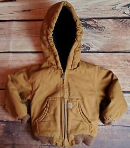 Carhartt Quilt Lined Hooded Jacket Winter Coat Youth Size 3T Work RN 13706 - EUC