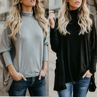Women Long Sleeve Turtleneck Neck Batwing Sleeve Loose Blouse Casual Tops Shirt