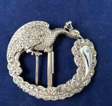 ANTICA FIBBIA ART NOUVEAU LIBERTY ANTIQUE BUCKLE Jugendstil peacock crystal