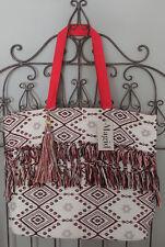 MAGID Handbag Purse Travel Shop Beach Tote Aztec Print Lined Orange Multi Large