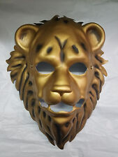 Gold Lion Mask Plastic Front Face Mask Cosplay Teen to Adult Size