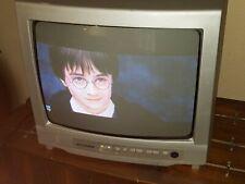 "Working Vintage Sylvania 13"" Inch Retro Gaming CRT TV Monitor 6413TG - No Remote"