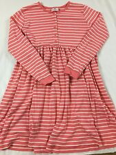 Hanna Andersson Size 150 (11-13 Years) Peach Pink & White Opposite Stripe Dress