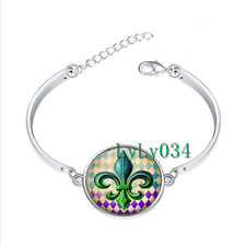 Fleur-de-Lis glass cabochon Tibet silver bangle bracelets Fashion