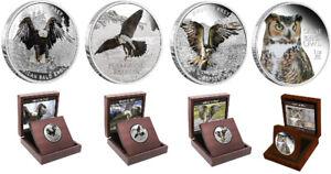 BIRDS OF PREY 4 Coin Set - Osprey, Bald Eagle, Great Horn Owl, Peregrine Falcon