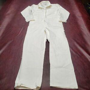 Red Kap Men's White Cotton Button Front Coveralls Long Sleeve Size Large 42 LN