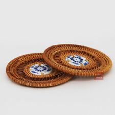 2pcs Chinese Handmade Tea Service Rattan Weaving Ceramic Teapot Tea Cup Pad 8cm