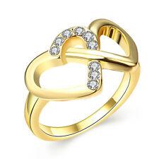 Gold Two Hearts Zircons medium women wedding ring diameter 17.5 mm size O FR205