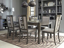 MARCY Modern Walnut Gray Dining Room Set Furniture 7pcs Rectangular Table Chairs