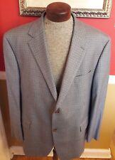 RALPH LAUREN Silk Wool Houndstooth Plaid Windowpane Sport Coat Blazer 48 50 Gray