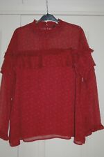 New Sz 20 OR 22 Maroon & Black Chiffon Blouse Top long Sleeves Ruffle detail