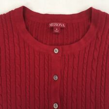 MERONA cable-knit long sleeve button sweater - womens small - maroon / burgundy