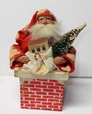 Vintage 1940`s-50`s Santa Claus in Chimney Figure Decoration
