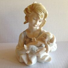 Beautiful Vintage A. Santini young Mother and  Baby Bust Statue/Figure. Signed.