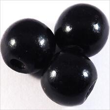Lot de 20 Perles rondes en Bois 14mm Noir