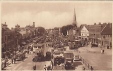 London Postcard. The Market, Romford, Havering. Busy! Traffic! c 1930