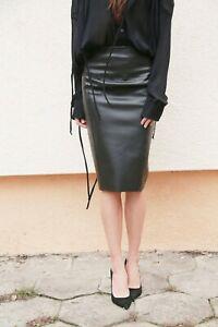 Black Lambskin Real Leather Sexy Knee Length Skirt Outing Party Office Casual L
