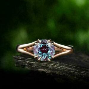 2Ct Round Cut Alexandrite Solitaire Women's Engagement Ring 14K Rose Gold Finish