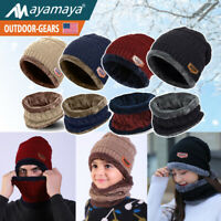 Winter Knit Beanie Slouch Hat Snood Scarf Set Fleece Snow Ski Cap Men Women Kids