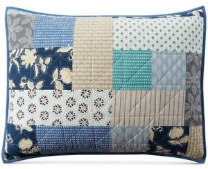 Martha Stewart Shams 2 Two Blue Patchwork Standard Size Prairie Country NEW