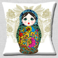 """LARGE RUSSIAN DOLL PRINT WHITE BLUE PINK ORANGE BLACK  16"""" Pillow Cushion Cover"""