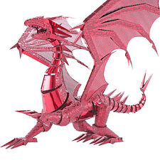 DIY Laser Cut Models Jigsaw Toys Metal Puzzle 3D Red Dragon Flame