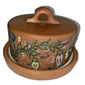 Terracotta Butter Dish, Hand Made In Peru, Butter Dish With Lid
