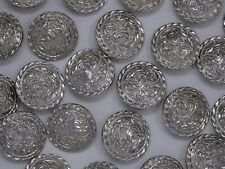Vintage Shiny Silver Rounded Shank Buttons 35mm Lot of 3 A165-1