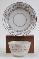 Rathbone pattern No.33 tea bowl and saucer. Dot floral pattern. c1820
