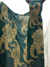 Designer Bottle Green / Beige   Print Chiffon Fabric wedding light
