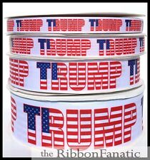 """3 yds 5/8"""" or 7/8"""" or 1.5"""" or 2.25"""" Donald Trump Flag Election Grosgrain Ribbon"""