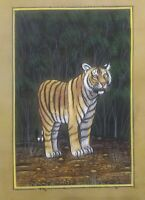 Hand Painted Old Paper Tiger Miniature Painting India Tradition Art Finest Paint