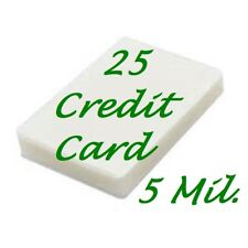 25 Credit Card 5 Mil Laminating Pouches Laminator Sheets 2-1/8 x 3-3/8