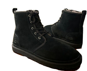 UGG MEN HARKLEY BLACK BOOTS SUEDE PURE WOOL 1016472 SIZE 14, AUTHENTIC NEW*