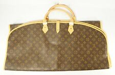 Vintage Louis Vuitton Monogram Brown Leather & Canvas Garment Bag Gently Used