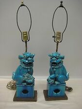 Pair of Feng Shui Foo Dogs Blue Table Lamps