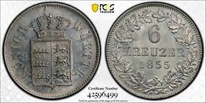 PCGS MS-65 WURTTEMBERG GERMANY SILVER 6 KREUZER 1855 (POP: 1/3)
